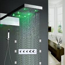 2019 6 jets led rain shower set easy installed in wall 22 spa rainfall embeded box hot cold panel mixer from jmhm 934 68 dhgate com