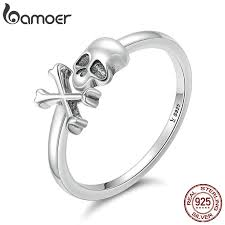 BAMOER <b>100</b>% <b>925 Sterling Silver</b> Hyperbole Skeleton Skull Pirate ...