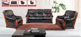 Italian Leather Living Room Furniture Classic Italian Leather Sofa Set Three Piece Dark Sofa Group For