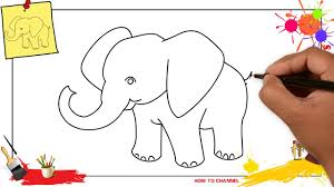 how to draw an elephant simple easy step by step for kids and beginners
