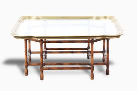 baker coffee table with faux bamboo base and brass top