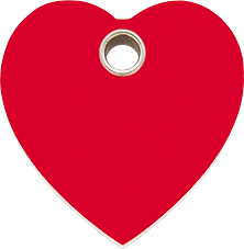 Red Dingo Plastic Tag Heart Red 04-HT-RE (4HTRS / 4HTRM / 4HTRL)
