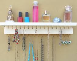 Jewelry / Necklace Rack - Necklace Holder - Wall Mounted Jewelry Organizer  - Top Shelf -