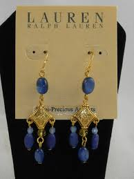 ralph lauren goldtone blue stone chandelier earrings