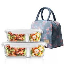microwavable glass lunch box with divider lid bag meal prep glass food storage containers with 2 compartments lunch container c18112301 nz 2019 from
