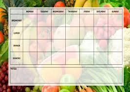 Vegetables Chart Weekly Meal Planner Chart Vegetables