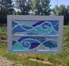 mosaic glass ocean wave stained glass mosaic artwork vintage recycled window