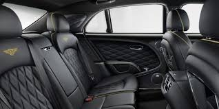 all black rear leather interior with yellow contrast sching in a bentley mulsanne sd bentley