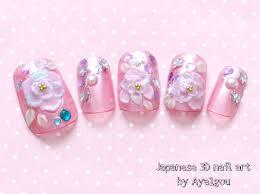 Japanese nail art bridal nail gel nail pink 3D nail rose