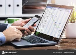 Gantt Chart Mobile Close Businessperson Hand Working Gantt Chart Mobile Phone
