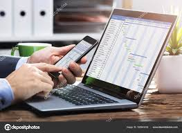 Close Businessperson Hand Working Gantt Chart Mobile Phone