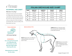 Italian Bed Size Chart Italian Greyhound Size Guide Voyagers K9 Apparel