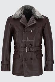 men s german pea coat brown fur collar classic military hide leather jacket dr who