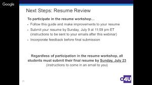 2017 O4u Business Resume Workshop Youtube