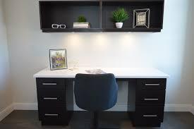 home office in living room. Desk Chair Floor Interior Home Workspace Shelf Living Room Residential Furniture Decor Modern Workstation Office In