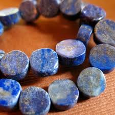 Lapis Lazuli Coin Bead <b>10mm</b> navy <b>blue</b> pyrite <b>egyptian</b> gemstone flat