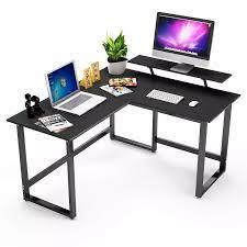 DEWEL L şekilli masa köşe bilgisayar masası standı ile PC dizüstü bilgisayar  masası İş İstasyonu ev ofis için|Laptop Desks