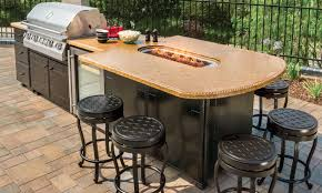 Granite For Outdoor Kitchen Excellent Outdoor Kitchen With Cultured Stone Frames Also Green