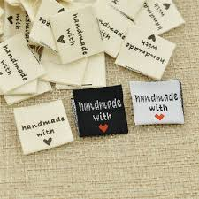 Diy Clothing Label 100pcs Handmade With Love Clothing Label Diy Embroidered Heart Woven Garment Tag Ebay
