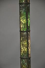 american art nouveau tiffany inspired copper and bronze floor lamp with stained glass for