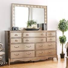 Furniture Of America Gold Finish Bedroom Furniture 4 Piece Eastern King  Size Bed Set Dresser Mirror Nightstand Solid Wood Luxurious Design