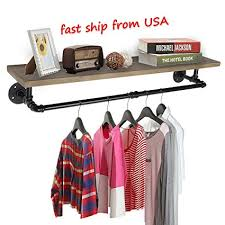 Clothes hanging shelf Laundry Room Image Unavailable Amazoncom Amazoncom Kingso Industrial Pipe Clothing Rack Pine Wood Shelving