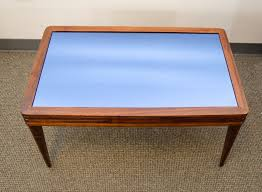 art deco walnut coffee or cocktail table original blue glass for at 1stdibs