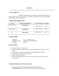 Fresher Resume Objective Examples Examples Of Resumes