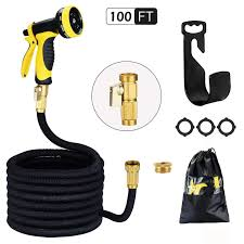 garden hose 100ft 30m hmil u strongest double latex inner prevent leaking magic garden hosepipe with 9function spray solid brass fittings