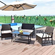 furniture deck. Giantex 4 PC Garden Furniture Set Outdoor Patio Sectional PE Wicker Rattan Deck Table Sofa Chairs With Cushions HW55431 S