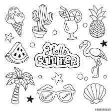 Summer Icons Collection Vector Illustration Of Summer Outline Icons