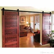 2018 8ft antique double sliding barn door hardware roller track kit black surface frosted for outside or inside from sun shine 160 81 dhgate