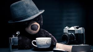 Bear Coffee Table Teddy Bear Books Camera Hat Journalist Cappuccino Coffee Table