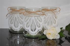Glass Jar Table Decorations 100 x Lace Jute Glass Jars Vases Vintage Rustic Chic Wedding Table 95