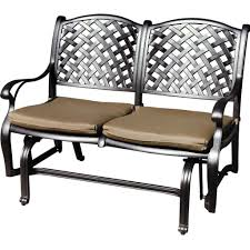 vintage wrought iron swing patio bench