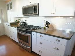 Diy Tile Kitchen Backsplash Kitchen Neutral Kitchen With White Glass Subway Tles And Wall