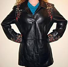 beautiful black 100 leather kasper embroidered jacket las l 35 00