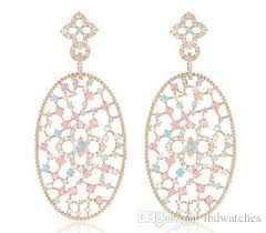 2018 2018 hot rose gold color filigree big oval dangle earrings inspired pave colorful cz stones chandelier earrings from lbdwatches 58 18 dhgate
