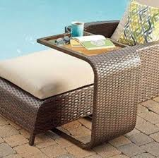 image modern wicker patio furniture. modern wicker cshaped accent table all weather patio furniture side image