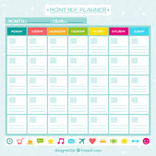 Monthly Planner Free Download Monthly Planner With Icons Vector Free Download