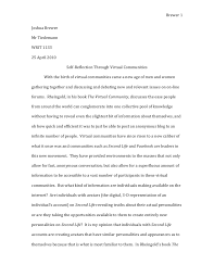 joshua brewer virtual communities essay rough draft