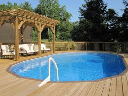 wood patio with pool. Casual Round Pool Deck Plans For Your Garden Exterior : Top Notch Brown Wooden Side Wood Patio With R