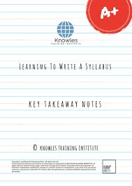 How To Write A Syllabus Learning To Write A Syllabus Training Course In Singapore Knowles