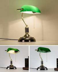 Us 900 Groen Glas Lampenkap Klassieke Bank Lamp 1 Licht Zwart Bureaulamp Trekkoord Schakelaar Leeslamp Ajustable Bureaulamp Tafel Licht In Groen
