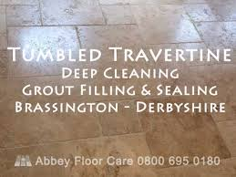cleaning tumbled travertine tiles brassington derbyshire featured image