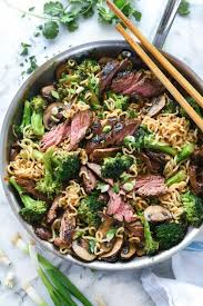 ramen noodles with marinated steak and