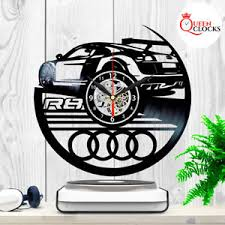 Record Gifts Audi R8 Car Logo Vinyl Record Wall Clock Collection Emblem Decor
