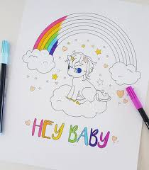 We have collected 38+ baby unicorn coloring page images of various designs for you to color. Printable Baby Unicorn Rainbow Coloring Page Fantasy Etsy