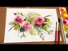 Basic flower watercolor - <b>Pink rose</b> (Arches rough) NAMIL ART ...