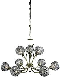 bellis ii antique brass 9 light chandelier with clear glass shades
